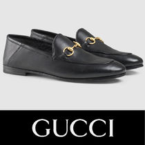GUCCI Plain Leather Loafer Pumps & Mules