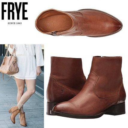 Cowboy Boots Plain Leather Mid Heel Boots