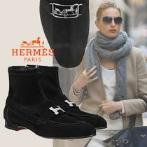 HERMES Plain Elegant Style Ankle & Booties Boots