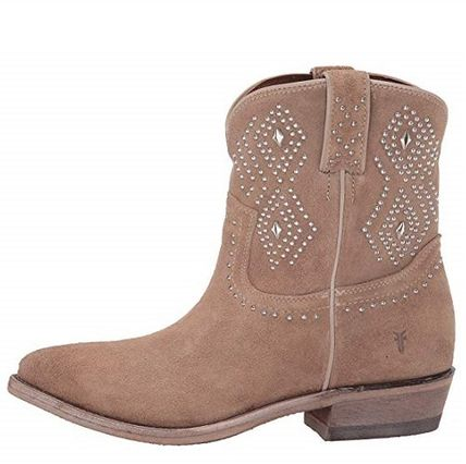 Cowboy Boots Suede Studded Plain Block Heels Flat Boots