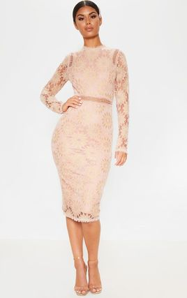 Tight Long Sleeves Plain Long High-Neck Lace Dresses