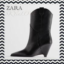 ZARA Cowboy Boots Square Toe Rubber Sole Casual Style Leather