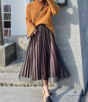 Flared Skirts Casual Style Blended Fabrics Pleated Skirts
