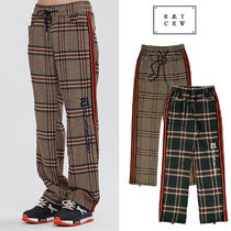 ROMANTIC CROWN Slax Pants Stripes Other Check Patterns Unisex Street Style