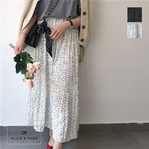 Flared Skirts Dots Casual Style Maxi Long Maxi Skirts
