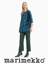 marimekko Flower Patterns Boat Neck Cropped Cotton Medium Tunics