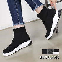 Wedge Platform Round Toe Casual Style Faux Fur Street Style