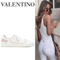 Mario Valentino Round Toe Rubber Sole Casual Style Plain Low-Top Sneakers