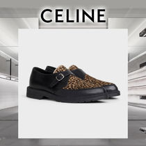 CELINE Leopard Patterns Monk Plain Leather U Tips