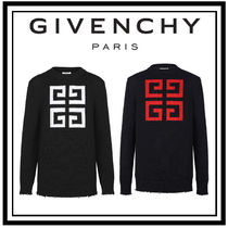 GIVENCHY Pullovers Street Style Long Sleeves Plain Cotton