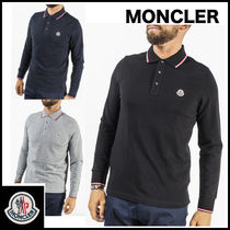 MONCLER Street Style Long Sleeves Plain Cotton Polos