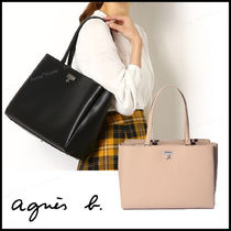 Agnes b A4 Plain Leather Office Style Totes