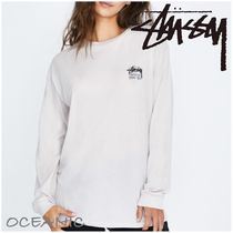 STUSSY Crew Neck Long Sleeves Cotton Long Tops