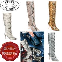 Steve Madden Leather Pin Heels Party Style Python High Heel Boots