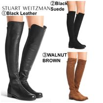 Stuart Weitzman Casual Style Suede Plain Leather Chunky Heels