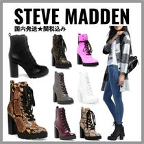 Steve Madden Lace-up Casual Style Plain Leather Python Chunky Heels
