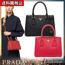 PRADA GALLERIA Calfskin Blended Fabrics 2WAY Plain Elegant Style Handbags