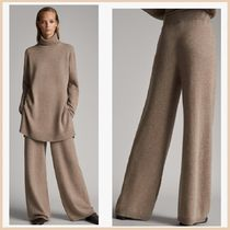 Massimo Dutti Wool Plain Long Elegant Style Pants