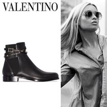VALENTINO Round Toe Studded Plain Leather Ankle & Booties Boots