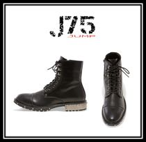 J75 by JUMP Straight Tip Faux Fur Studded Street Style Plain Boots
