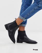 ASOS Casual Style Plain Leather Flat Boots