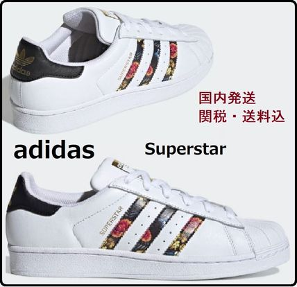Flower Patterns Unisex Street Style Leather Sneakers