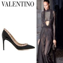 Mario Valentino Studded Plain Leather Pin Heels Elegant Style