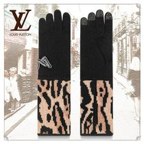 Louis Vuitton Leopard Patterns Wool Cashmere Nylon Gloves Gloves