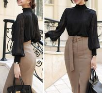 Lace-up Chiffon Plain Medium Elegant Style Puff Sleeves