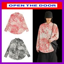 OPEN THE DOOR Street Style Long Sleeves Cotton Oversized Shirts & Blouses