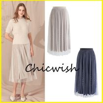 Chicwish Flared Skirts Velvet Blended Fabrics Medium With Jewels