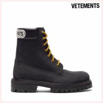 VETEMENTS Round Toe Rubber Sole Casual Style Street Style Leather