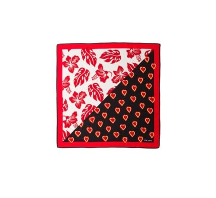 PRADA Heart Flower Patterns Silk Handkerchief