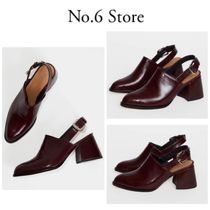 No.6 Store Casual Style Plain Leather Chunky Heels Heeled Sandals