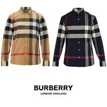 Burberry Other Check Patterns Street Style Long Sleeves Cotton