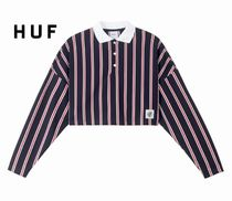 HUF Stripes Unisex Street Style Long Sleeves Polo Shirts
