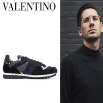 Mario Valentino Camouflage Unisex Suede Studded Leather Sneakers
