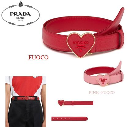 PRADA Belts Heart Casual Style Plain Leather Belts