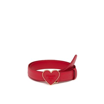 PRADA Belts Heart Casual Style Plain Leather Belts 2
