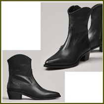 Massimo Dutti Cowboy Boots Casual Style Plain Leather Block Heels