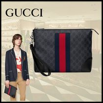 GUCCI Unisex Canvas Blended Fabrics Clutches