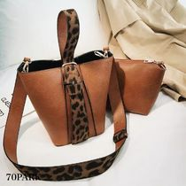 Leopard Patterns Casual Style Faux Fur 2WAY Shoulder Bags