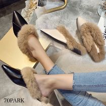 Plain Toe Casual Style Faux Fur Blended Fabrics Plain