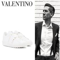 Mario Valentino Unisex Studded Plain Leather Sneakers