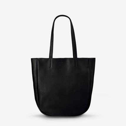 A4 Plain Leather Office Style Logo Totes