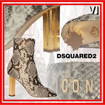 D SQUARED2 Square Toe Casual Style Leather Python Elegant Style