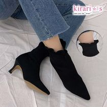 Casual Style Plain Pin Heels Ankle & Booties Boots