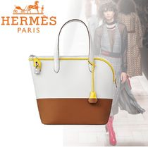 HERMES Casual Style Plain Leather Office Style Elegant Style
