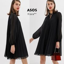 ASOS Short Flared Long Sleeves Plain Medium Party Style High-Neck