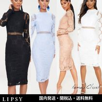 Lipsy Crew Neck Flower Patterns Tight Long Sleeves Plain Lace